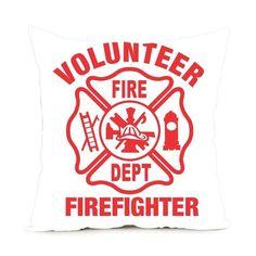 Luxury Print Firefighter Zippered Throw Pillowcase, no pillow