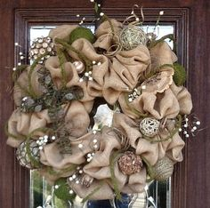 BURLAP and MOSS Wreath with Metal Grapevine CROSS by decoglitz ...