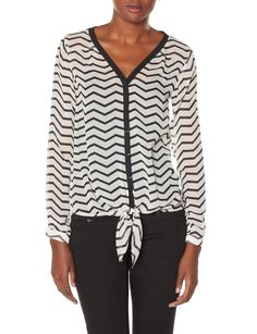 Chevron Tie Front Layering Shirt | Women's Tops | THE LIMITED
