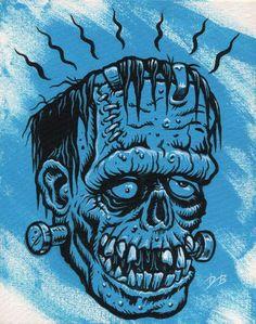 Frankenmonster by Dave Burke Cartoon Monsters, Horror Monsters, Famous Monsters, Ed Roth Art, Tiki Head, Monster Stickers, The Frankenstein, Satanic Art, Cartoon Tattoos