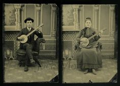 1880s photo of banjo-playing couple. I have to find sometime to use this idea! So adorable :)