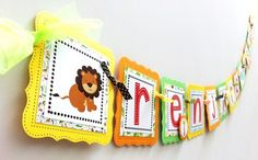 Wild Jungle Safari Birthday Banner for Kids Party | adorebynat - Seasonal on ArtFire