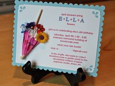 """Such a cute invitation for """"April showers bring May flowers"""" themed baby shower."""
