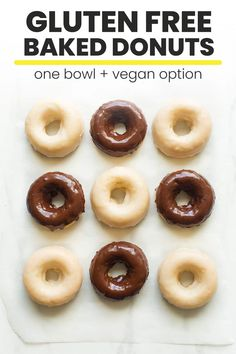 gluten free breakfasts The best, soft and tender chocolate and vanilla glazed gluten free donuts! Made with only one bowl with easy to find gluten free donuts! Paleo Donut, Easy Donut Recipe, Baked Donut Recipes, Baked Donuts, Baking Recipes, Gluten Free Donut Recipe Baked, Donuts Donuts, Gf Recipes, Healthy Recipes