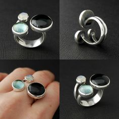 A new open ring with 3 stones, onyx, sky blue topaz, rainbow moonstone. Contemporary Jewellery, Modern Jewelry, Jewelry Art, Jewelry Rings, Unique Jewelry, Silver Jewelry, Jewelry Accessories, Silver Rings, Jewelry Design