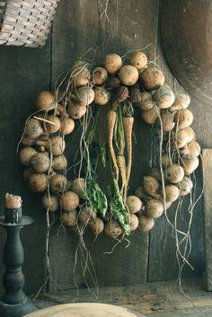 Primitive Early Look Dried Gourd Wreath w Dried Parsips Cedar w Pinecones | eBay