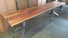 "Live edge curly redwood slab dining table on a custom ""wishbone"" base. Solid Wood Table, Wood, Wood Bench, Slab Dining Tables, Solid Wood, Solid Wood Kitchens, Reclaimed Wood Table, Old Wood, Custom Wood"