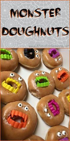 Monster Doughnuts Halloween food party recipe idea easy DIY donut doughnut