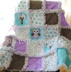 Baby girl Rag quilt Precious baby Owl in Teal, purple and brown.
