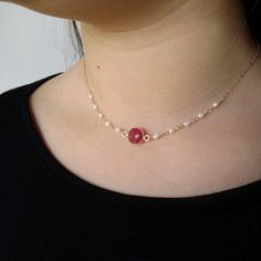Gold Ruby necklace with white pearls gold filled July birthstone necklace gift for women Dainty - Gold chain design - Schmuck Gold Ruby Necklace, Pearl Necklace Designs, Jewelry Design Earrings, Gold Earrings Designs, Gold Jewellery Design, Gold Designs, Beaded Necklace, Pearl Jewelry, Handmade Jewellery