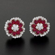 Ruby Earrings Van Cleef & Arpels Camellia Platinum, Diamond and Ruby Ear Clips. Ruby Jewelry, Ruby Earrings, Sterling Silver Jewelry, Antique Jewelry, Diamond Earrings, Vintage Jewelry, Fine Jewelry, Jewellery, Bijoux Art Nouveau