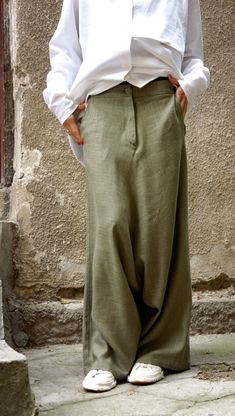 NEW Collection Loose Linen Olive Green Harem Pants / Extravagant Drop Crotch Olive Green Pants Extravagant Trousers by AAKASHA in 2020 Dinner Movie Theater, Blouse Ample, Harem Pants, Trousers, Olive Green Pants, Look Fashion, Womens Fashion, Trendy Fashion, Drop Crotch