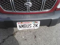 Nimbus Two Thousand- and the fact it's a Wisconsin plate, even better yet