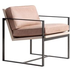 furniture manhattan modern leather u0026 metal arm chair see more options