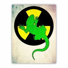 Radioactive Gecko Wood Print $29.96