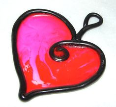 #Polymer #Clay RED #HEART Faux Stained Glass Sun Catcher by @KatersAcres, $5.95