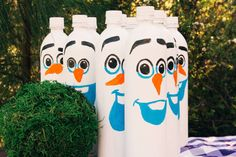 Make your Frozen-themed birthday party a fun, laughter filled, rockin' good time with this easy to make Olaf-inspired bowling game. Let all the kids at the party test their own icy powers with hand-painted Olaf-inspired pins and a rock troll bowling ball.
