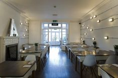 A collaboration between environmental design firm Hill and graphic design firm I Love Dust to create a beautiful space for Amelie & Friends restaurant in Chicester UK. Linear Lighting, Cool Lighting, Industrial Lighting, Lighting Ideas, Outdoor Lighting, Interior Photography, Retail Space, Commercial Interiors, Beautiful Space
