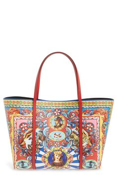 Dolce amp Gabbana Dolce amp Gabbana  Miss Escape - Carretto Print  Leather  Tote available 73e4fc2bde