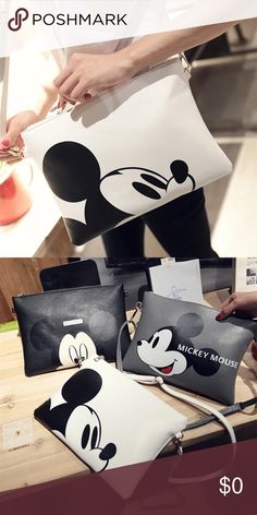 AVAILABLE NOW Classic Mickey Oversized Clutch AVAILABLE NOW!!! One of the most Iconic figures of all time, Mickey Mouse is a symbol of fun, family, and whimsy!!! Show off your Disney ❤️️ with this adorable oversized white vegan leather clutch purse with attachable strap with mickeys face on it....fun and classic at the same time, pair with any look to add a hint of fun to your daily attire!!!  Available in white, can order other colors pictured as well!! Color ME Crazy Boutique Bags Clutches…