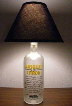 DIY Kits & Resources to Make Custom Light Fixtures and Lampshades Recycled Glass Bottles, Glass Bottle Crafts, Bottle Art, Small Bottles, Garrafa Diy, Diy Bottle Lamp, Bottle Lights, Unique Lamps, Liquor Bottles