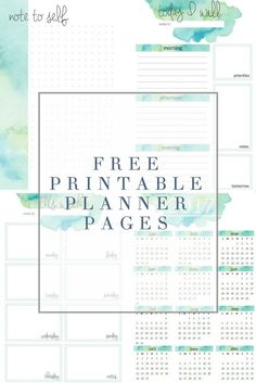 Free Watercolor Printable Planner Pages from The Crazy Craft Lady - Free printable planner - Weekly planner Free Planner Pages, Printable Planner Pages, Cleaning Schedule Printable, Planner Template, Planner Inserts, Free Printables, Routine Printable, 2018 Calendar Printable Free, Cleaning Calendar