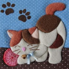 Cat Quilt Patterns, Crochet Doily Patterns, Applique Patterns, Applique Quilts, Applique Designs, Lap Quilts, Mini Quilts, Quilt Blocks, Crazy Quilting