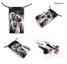 Pendant -Natural Life in Pink and Black by Alkhymeia, via Flickr