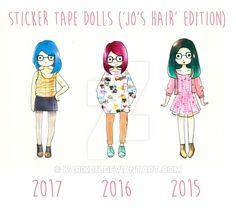 Sticker Tape Dolls (The Evolution of My Hair) by karikun