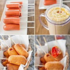 This would be good football food. --Learn how to make these super cute and adorable mini corn dogs. They're yummy and delicious and fun to make. Appetizer Recipes, Snack Recipes, Cooking Recipes, New Recipes, Appetizers, I Love Food, Good Food, Yummy Food, Mini Corn Dogs