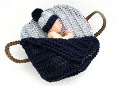 Car Seat Baby Blanket Knit Blanket Photography Prop by PeonyKnits