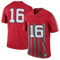 9b1fe922946 Nike #16 Ohio State Buckeyes Red Throwback Limited Football Jersey
