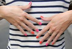 orange & pink nails