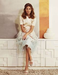 Olivia Palermo in Louis Vuitton feathered dress