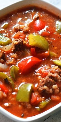 Slow Cooker Stuffed Pepper Soup - Recipes That Crock My mom makes this soup and it is the bomb.com!