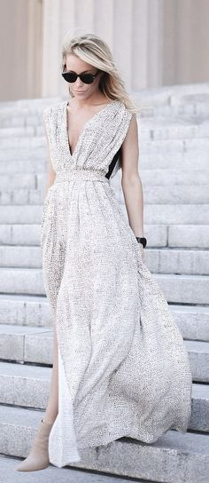 Summer Maxi Silver Dress. Street women fashion outfit clothing style apparel @roressclothes closet ideas