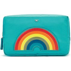 Anya Hindmarch Rainbow Make-up Pouch ($375) ❤ liked on Polyvore featuring bags, clutches and kirna zabete