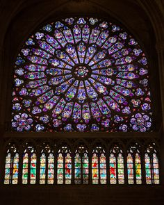 STAINED GLASS ROSE WINDOWS | Description Stained glass rose windows in Notre-Dame de Paris, October ...
