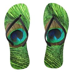 Peacock Lime Green flips flop sandals. Vibrant blue and green colors.