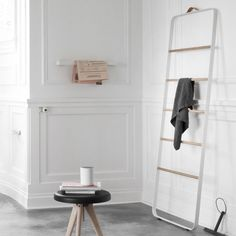 The ladder is an informal and flexible piece of furniture made for storing towels and accessories in the bathroom- clothes in the bedroom- or scarves and coats in the hallway. Available in white. Bathroom Towel Rails, Bathroom Rack, Bathroom Ideas, Bathroom Inspiration, Design Shop, Ladder Towel Racks, Storing Towels, Design3000, Mesas