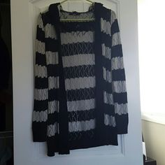Long Open Front Sweater Black and grey open weave sweater. Comes down to about mid thigh. Cute with skinny jeans and boots. Papaya Sweaters