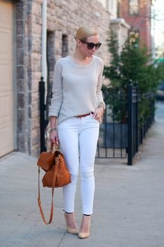 Helena Glazer, style blogger of Brooklyn Blonde, wearingRag & Bone jeans, Zara sweater, Banana Republic belt, Pietro Alessandro bag, Sigerson Morrison shoes, Celine 'Audrey' sunnies, and jewelry from Cara, J.Crew, and Michael Kors.