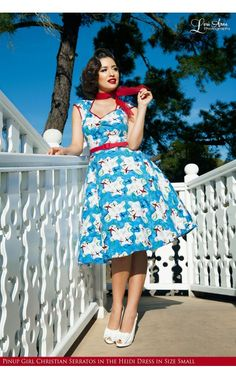 Pinup Couture- Heidi Dress in Mary Blair Planes Print   Pinup Girl Clothing
