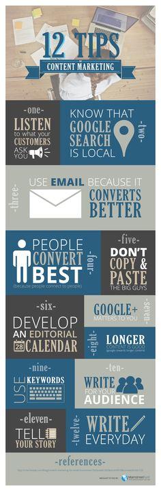 12 Content Marketing Tips (consejos de marketing de contenidos) #infografia #infographic #marketing