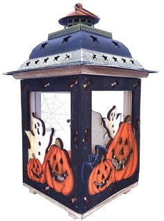 Halloween Candle Lantern with Pumpkins Spooky Ghosts Spider Webs Rustic Hand Painted Wood and Glass Decorative Candle Holder Standing or Hanging by Clovers Garden -- You can find out more details at the link of the image. Candle Holder Decor, Lantern Candle Holders, Candle Lanterns, Halloween Lanterns, Halloween Decorations, Halloween Centerpieces, Autumn Decorations, Wedding Centerpieces, Halloween Gifts