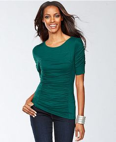 INC International Concepts Top, Short-Sleeve Ruched - Womens Tops - Macy's
