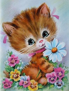 Vintage Kitty Card - Flowers