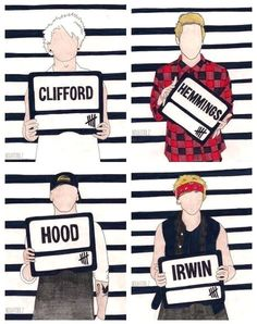 Michael Clifford, Luke Hemmings, Calum Hood, Ashton Irwin drawing