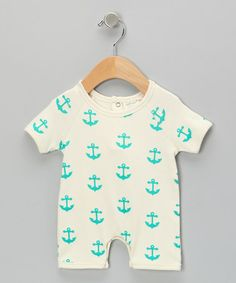 Look what I found on #zulily! Neutral White & Teal Anchor Organic Romper by SoftBaby #zulilyfinds