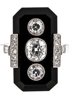 Old European Cut Diamond Onyx Platinum Plaque Ring